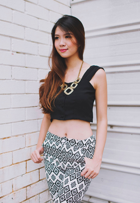 Chloe's Cropped Buttoned Top in Black