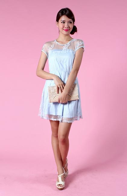 Faerie Lace Dress in Powder Blue