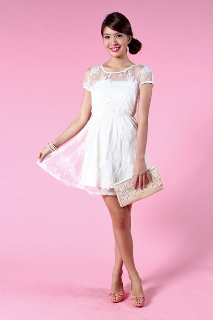 Faerie Lace Dress in Cream White