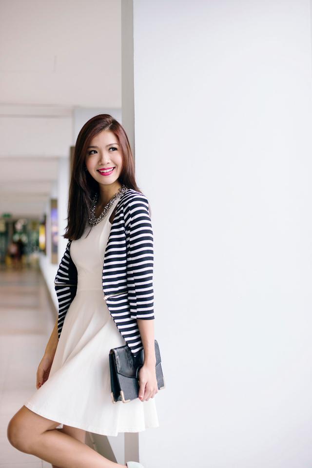 Jillian's Zipped Cropped Blazer in Stripes