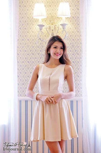 Parisian Beauty Dress in Nude Cream