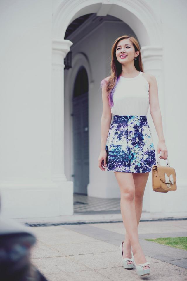 Isla Paperbag Skirt in Cosmic Violet