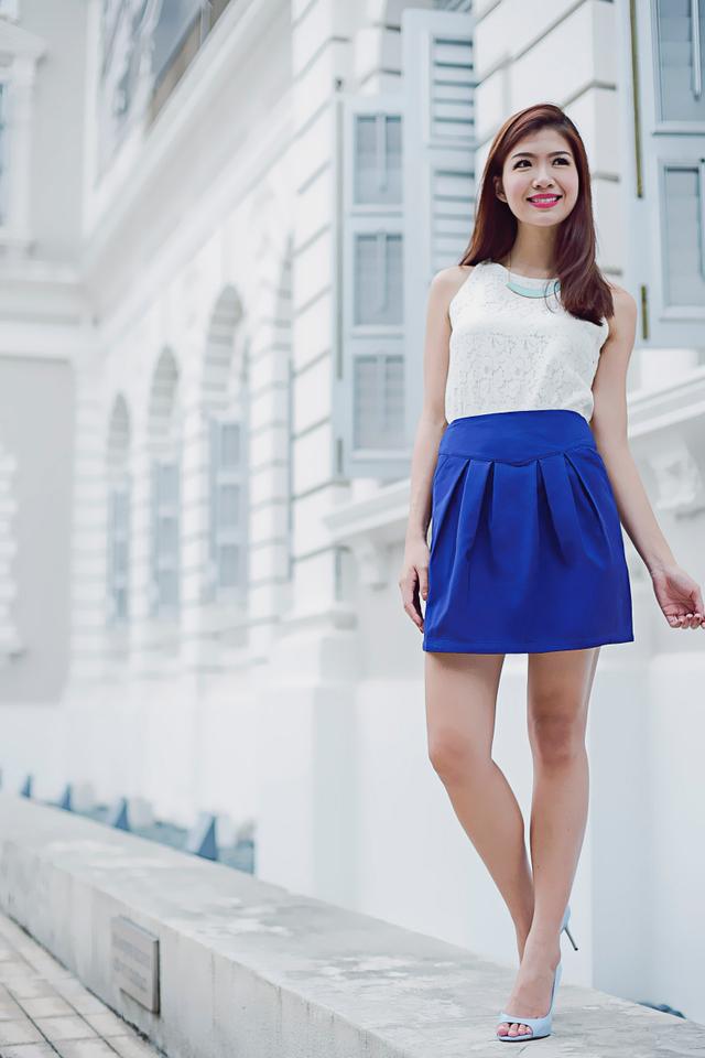 Kelis Pleated Skirt in Indigo