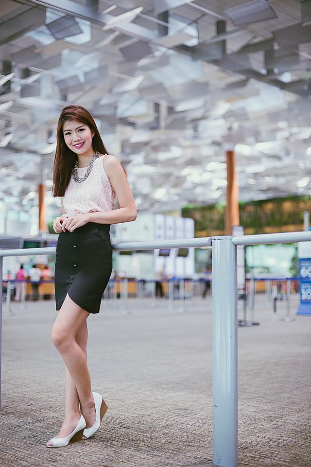 Chrissy Buttons Skirt in Black