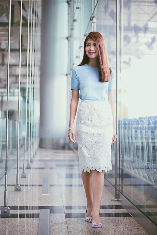 Sienna Crochet Midi Skirt in White