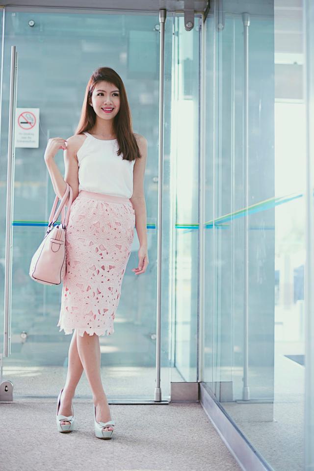 Sienna Crochet Midi Skirt in Pink