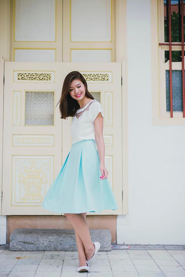 Millie Two Pleats Midi Skirt in Sky Mint