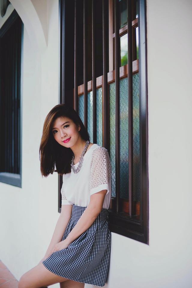 Wanda Monochrome Grid Skirt