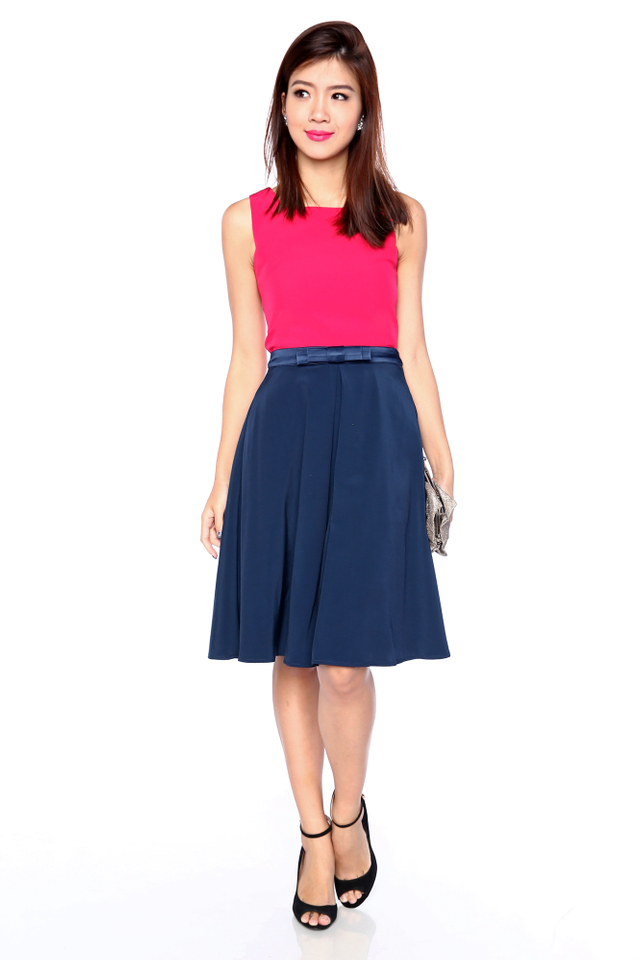 Maryann Bow Midi Skirt in Navy Blue