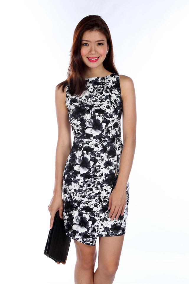 Sondra Origami Dress in Monochrome Florals