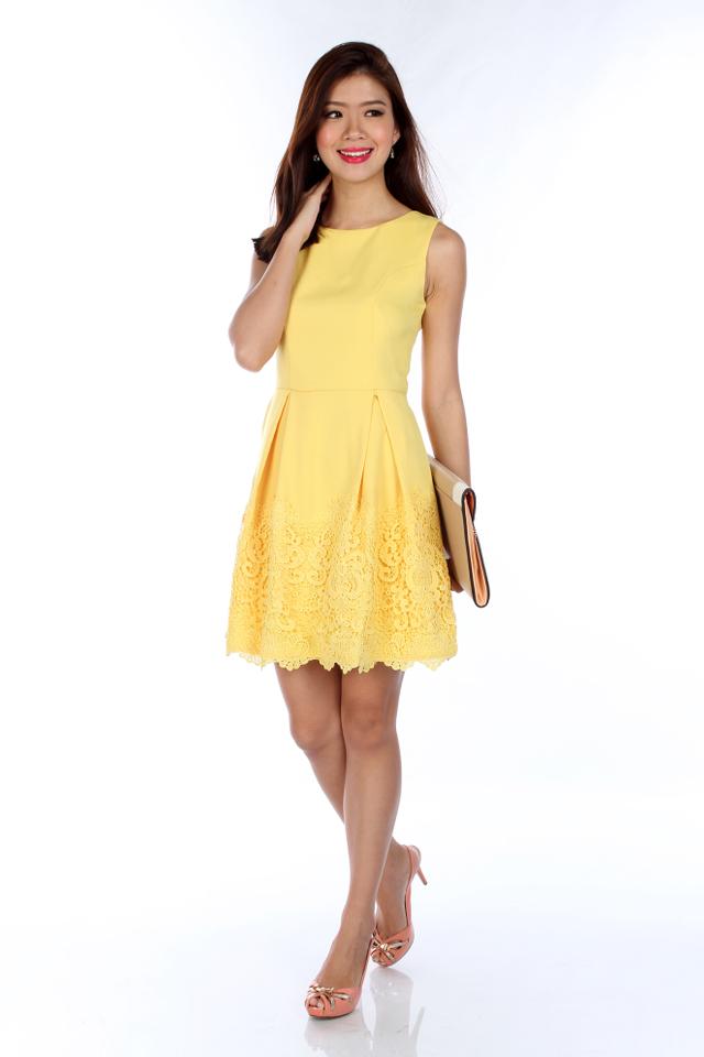 Estelle Crochet Embroidery Dress in Yellow