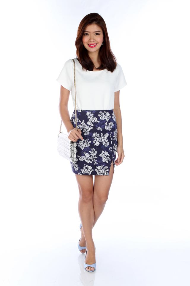 Mila Tweed Top in White