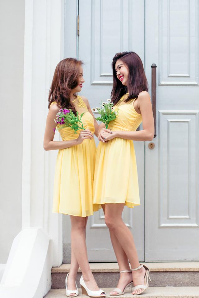 Azalea Embroidery Mesh Ruch Dress in Yellow