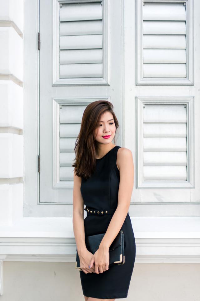 Callista Belted Work Dress in Black