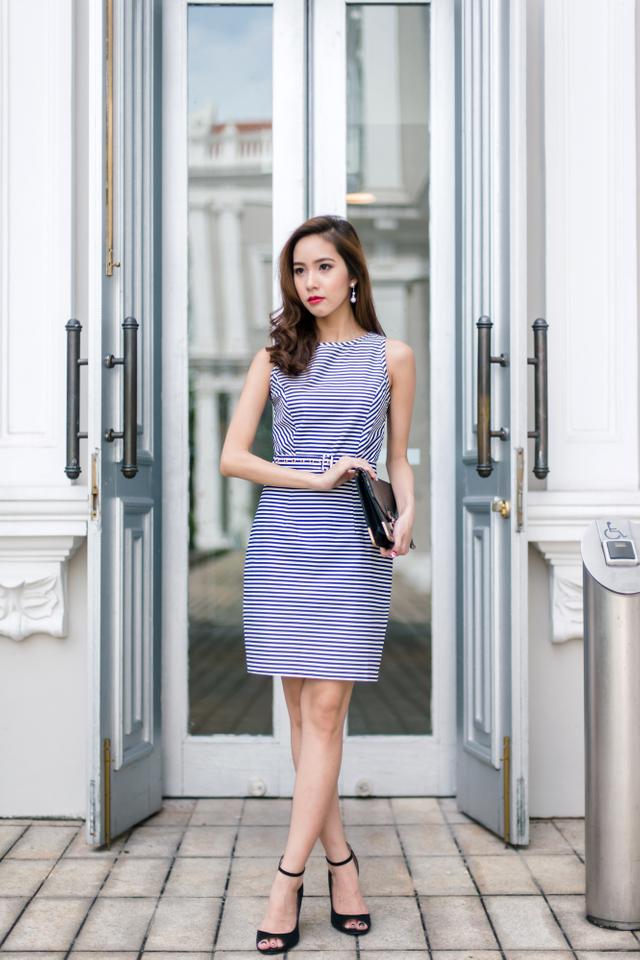 Callista Belted Work Dress in Stripes
