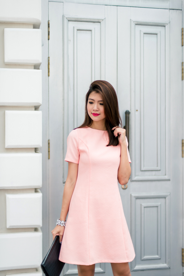 Penny Textured A-line Dress in Salmon