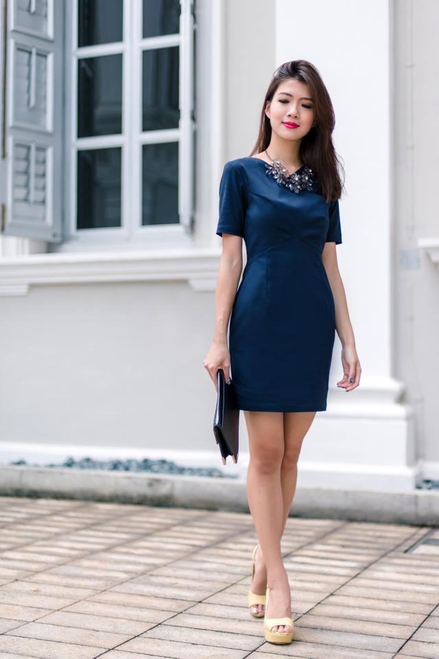 Valerie Work Dress in Navy