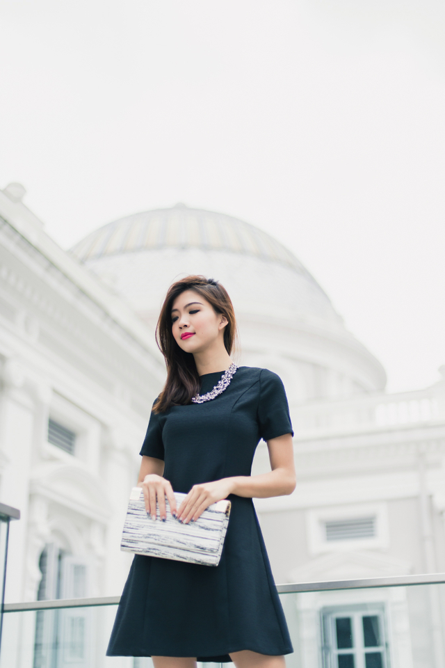Penny Textured A-line Dress in Black