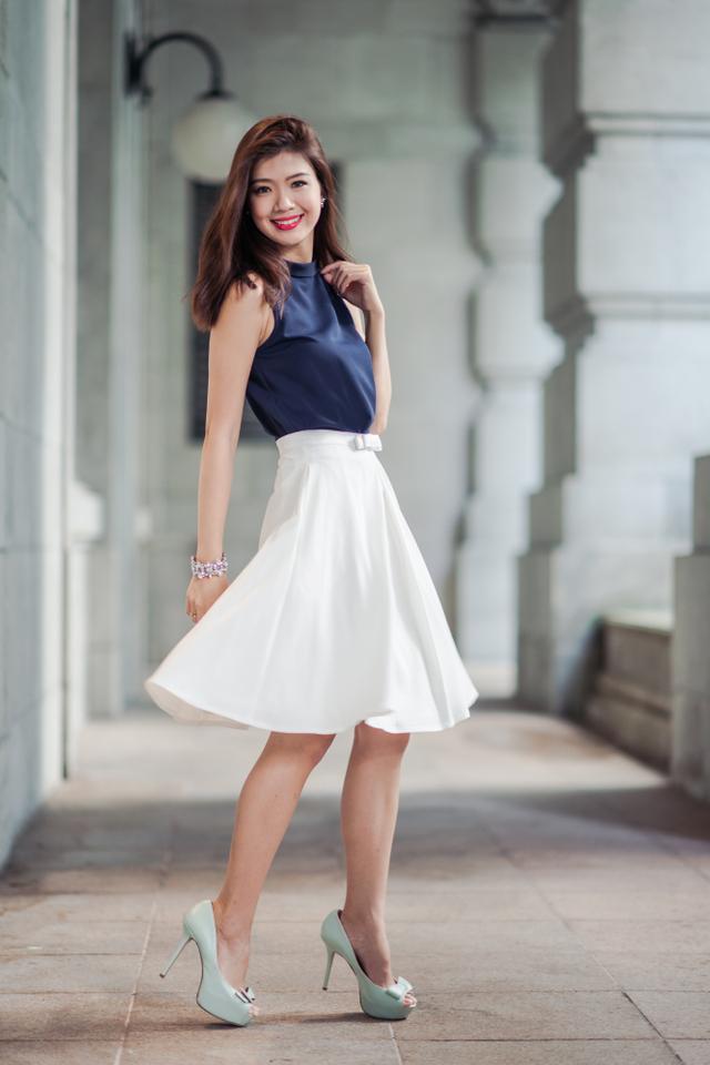 Maryann Bow Midi Skirt in White