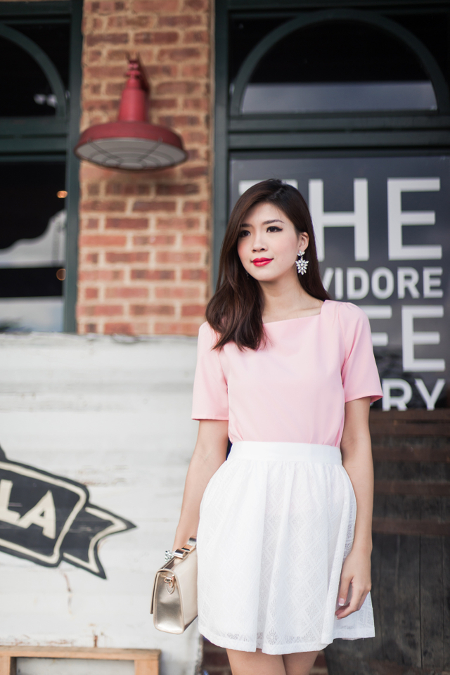 Faye Square Neck Top in Sweet Pink
