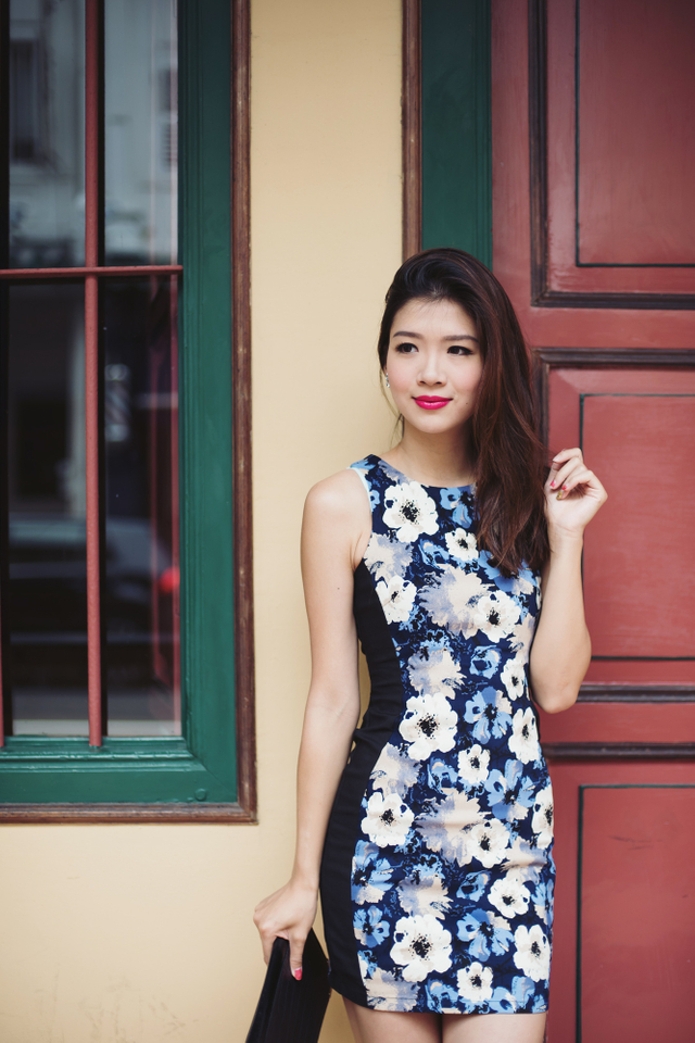 Sonia Side Panel Dress in Blue Pansies