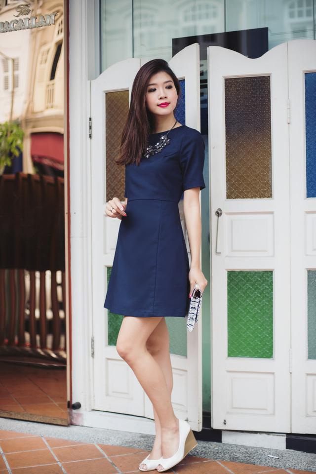 Freda A-line Dress in Navy