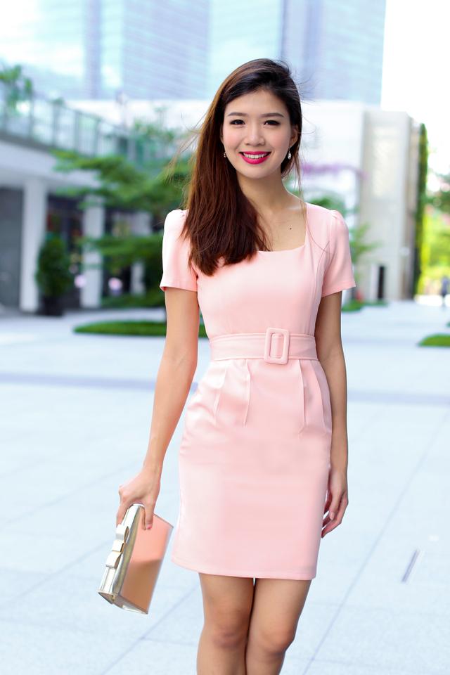 Shelia Square Neck Pencil Work Dress in Peach Pink