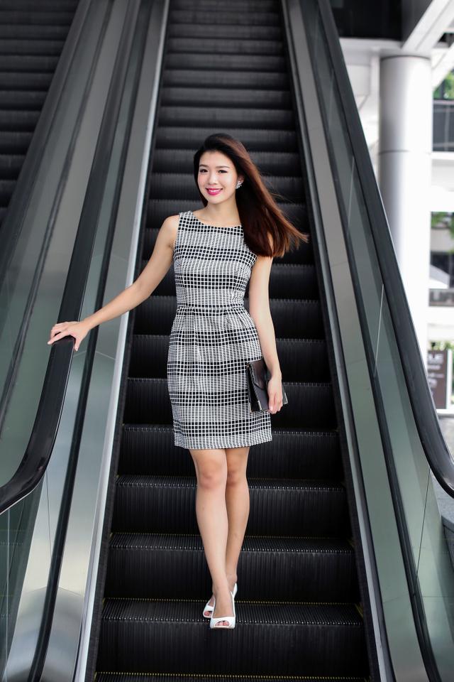 Corporate Beauty Midi Dress in Mono Checks