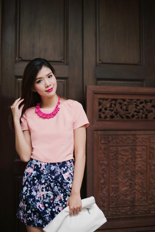Kelis Pleated Skirt in Midnight Florals
