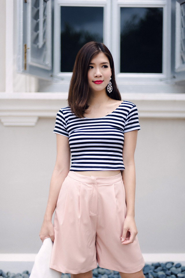 Desiree Basic Cropped Top in Stripes
