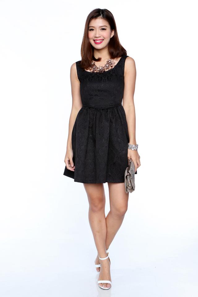 Estelle Princess Waist Dress in Black