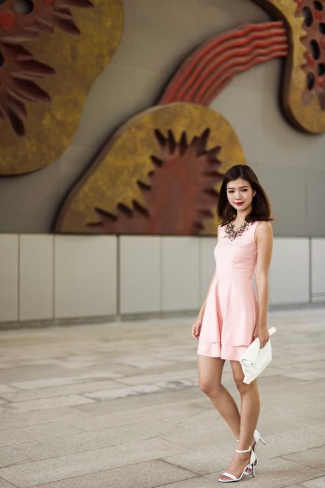 Jeanine Double Tier Dress in Sweet Pink