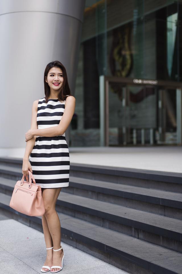Corporate Beauty Dress in Bold Stripes
