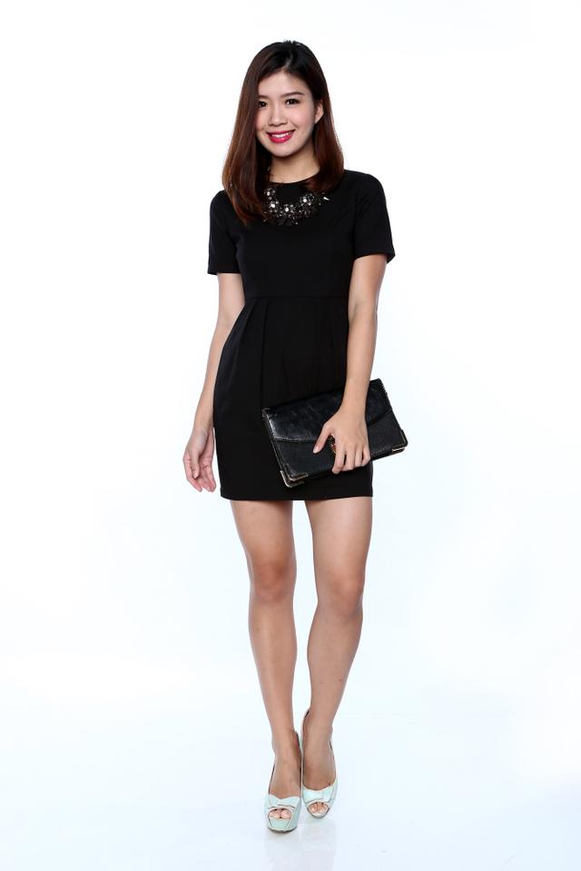 Rachelle Sleeved Work Dress in Black