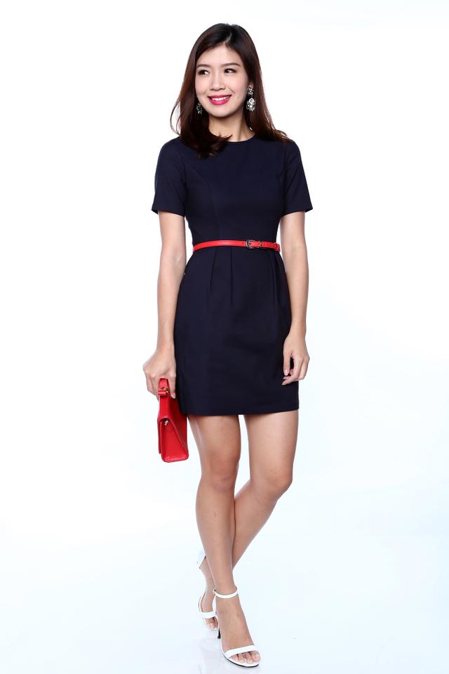 Rachelle Sleeved Work Dress in Navy