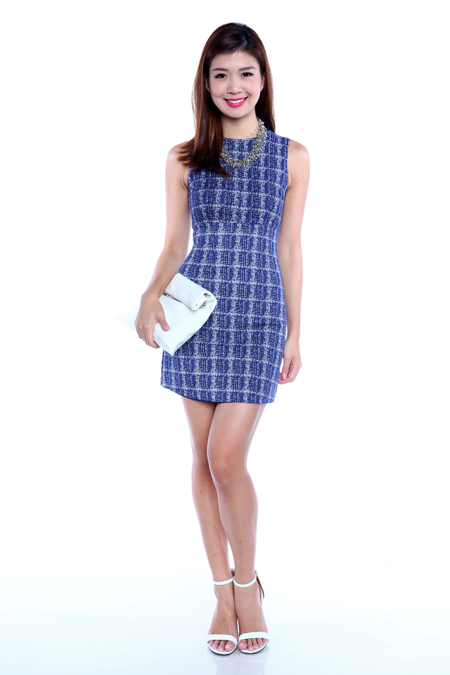 Jean Bodycon Work Dress in Blue Abstract
