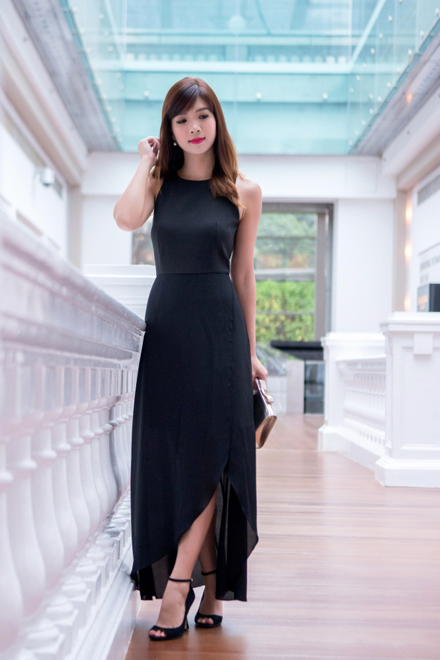 Blake Overlap Maxi Dress in Black