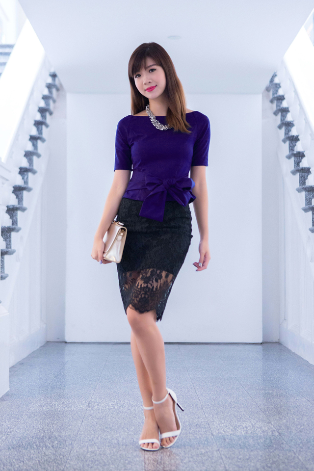 Winter Romance Lace Skirt in Black
