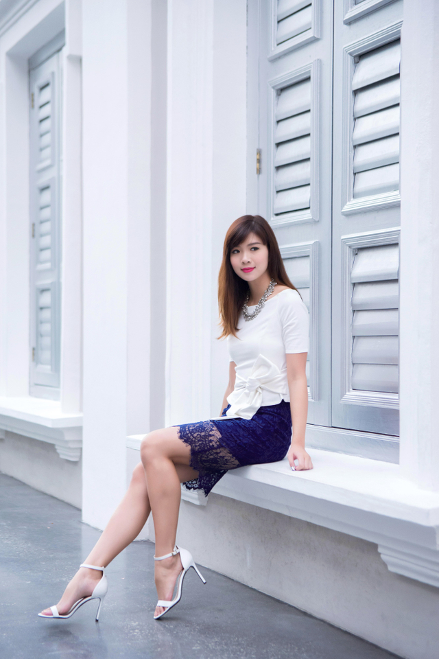 Winter Romance Lace Skirt in Navy