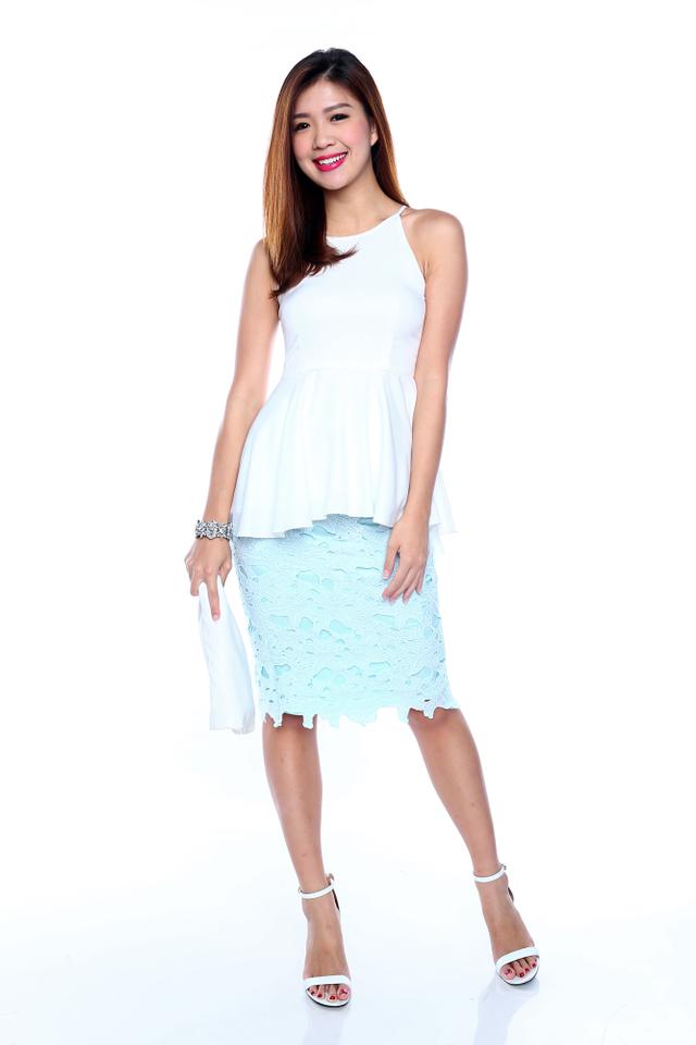 Shayla Hi-Lo Peplum Top in White