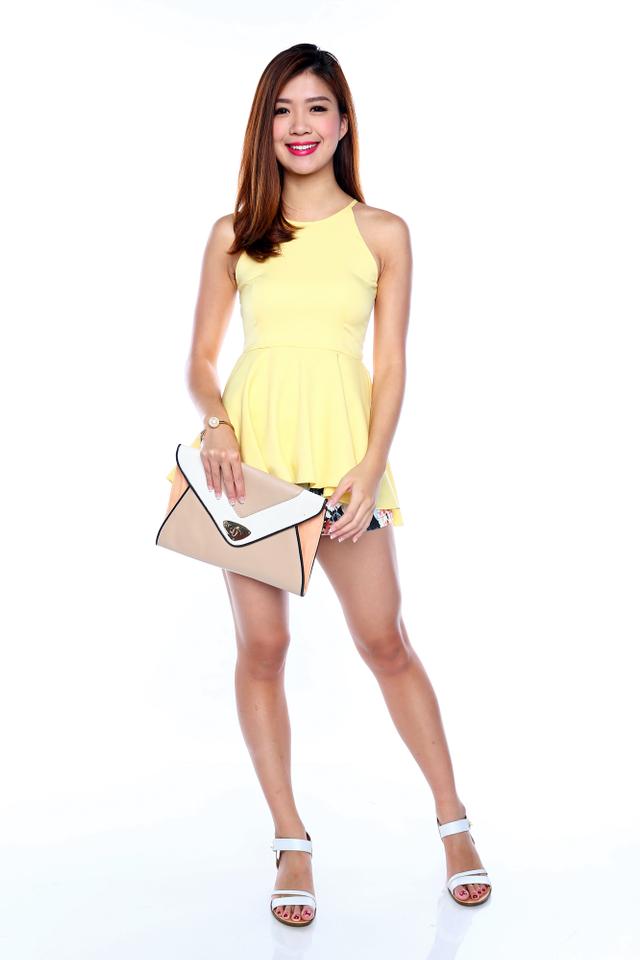 Shayla Hi-Lo Peplum Top in Yellow