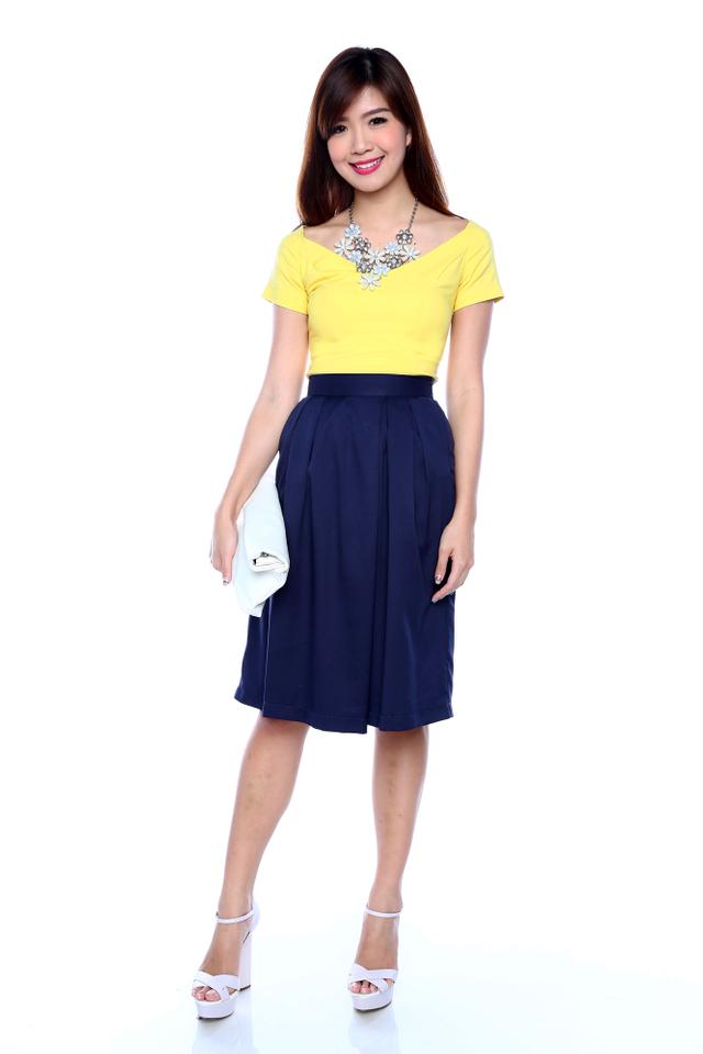 Candice Open Shoulder Top in Yellow