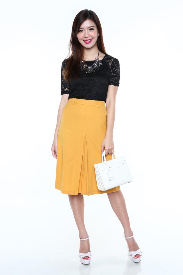 Vintage Days Midi Skirt in Mustard