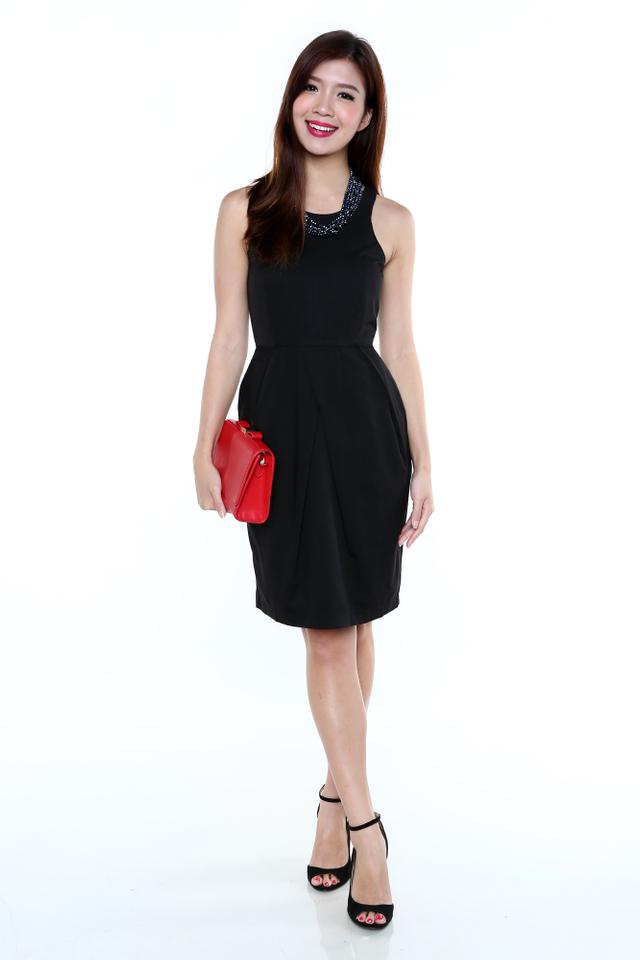 Eveline Tulip Midi Dress in Black