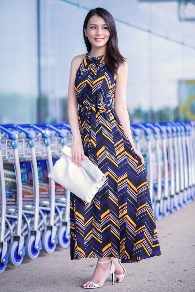 Hathaway Maxi Dress in Chevron Print