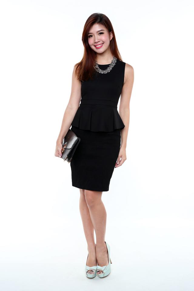 Elegance Aura Peplum Dress in Black
