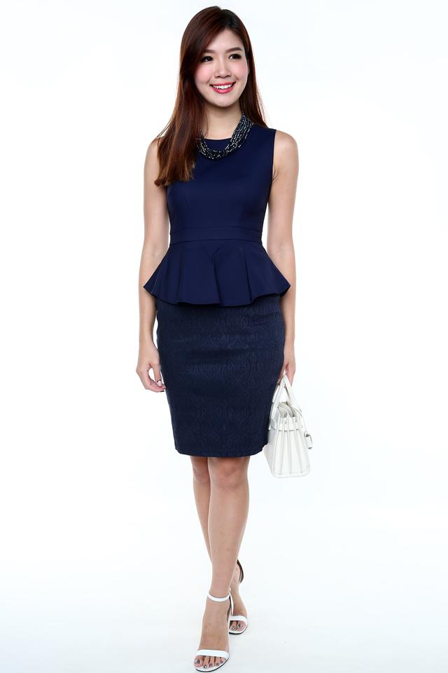 Elegance Aura Peplum Dress in Navy