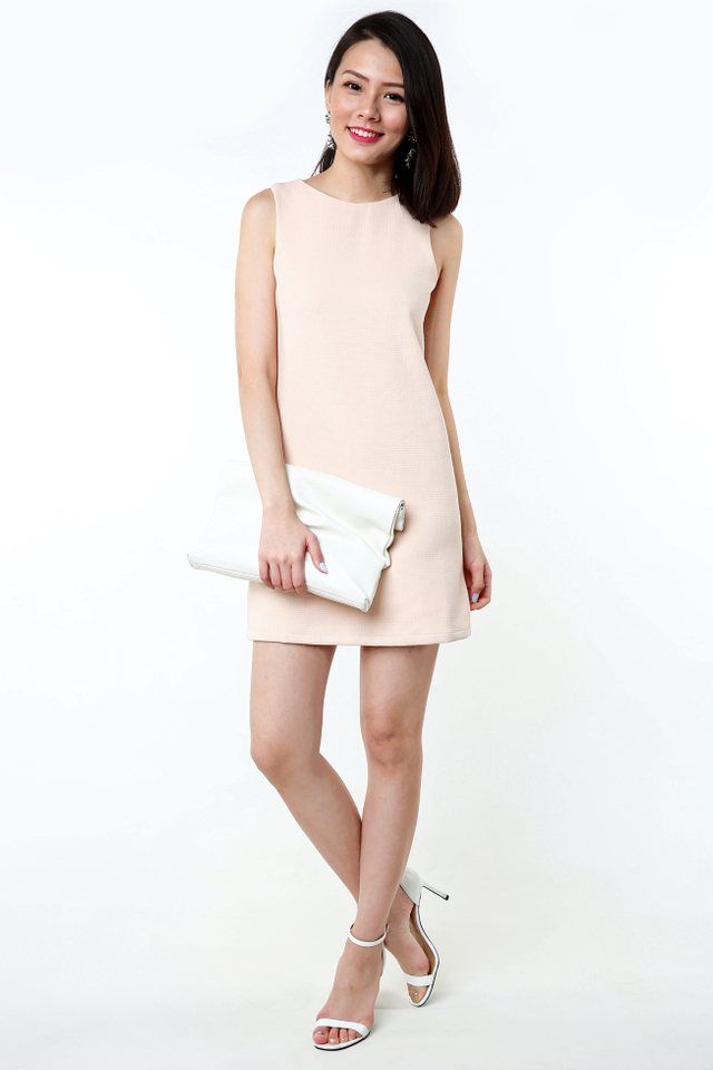 Simple Perfection Textured Shift Dress in Nude