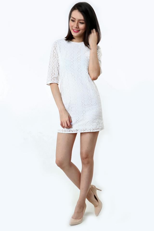 Lizzie Eyelet Dress in White