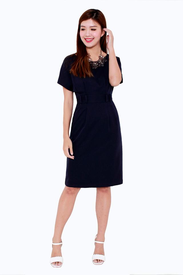 Erin Wide Neck Shoulder Dress in Navy